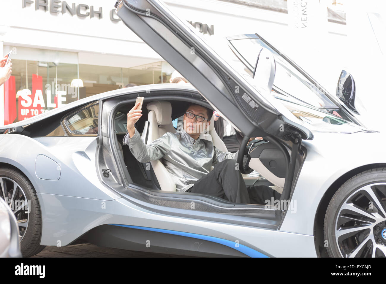 Man Taking A Selfie A Bmw I8 At The Ne1 Newcastle Motor Show Car