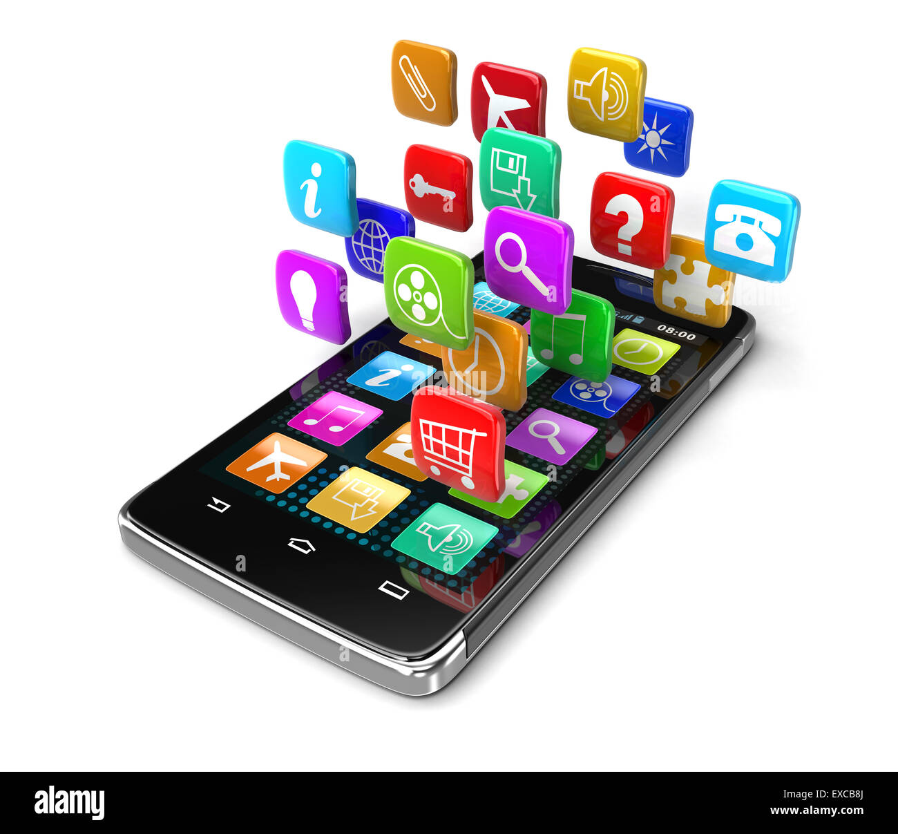 Touchscreen smartphone (clipping path included) - Stock Image