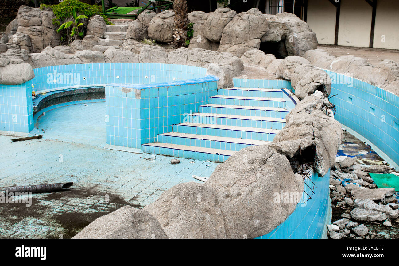 Part of a derelict swimming pool in Turkey - Stock Image