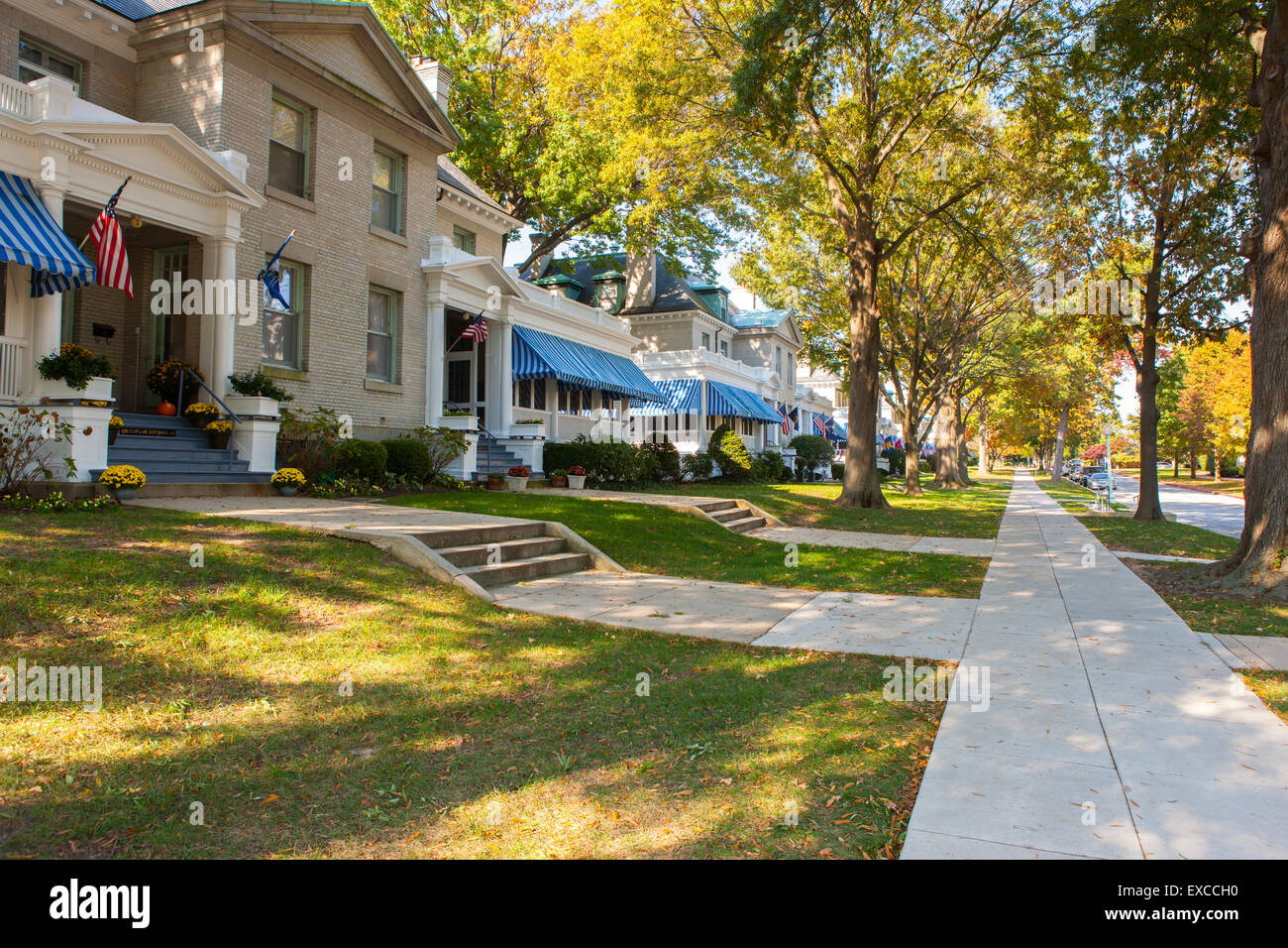 Residences on Captain's Row at the US Naval Academy in Annapolis, Maryland. - Stock Image