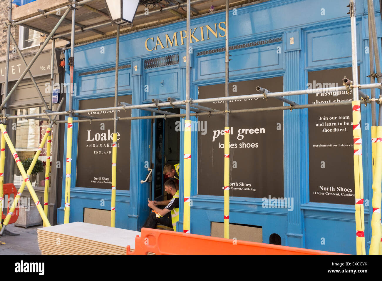 Old photography shop undergoing restoration alterations for new shoe shop Rose Crescent Cambridge City Cambridgeshire - Stock Image