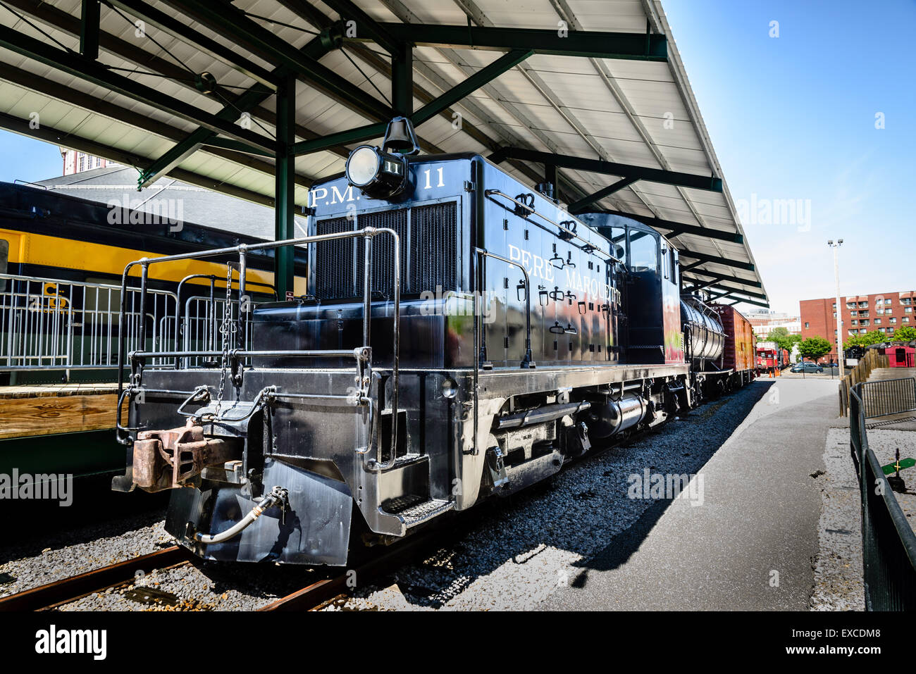 Pere Marquette Railway SW-1 Locomotive No 11, Baltimore & Ohio Railroad Museum, 901 West Pratt Street, Baltimore, - Stock Image