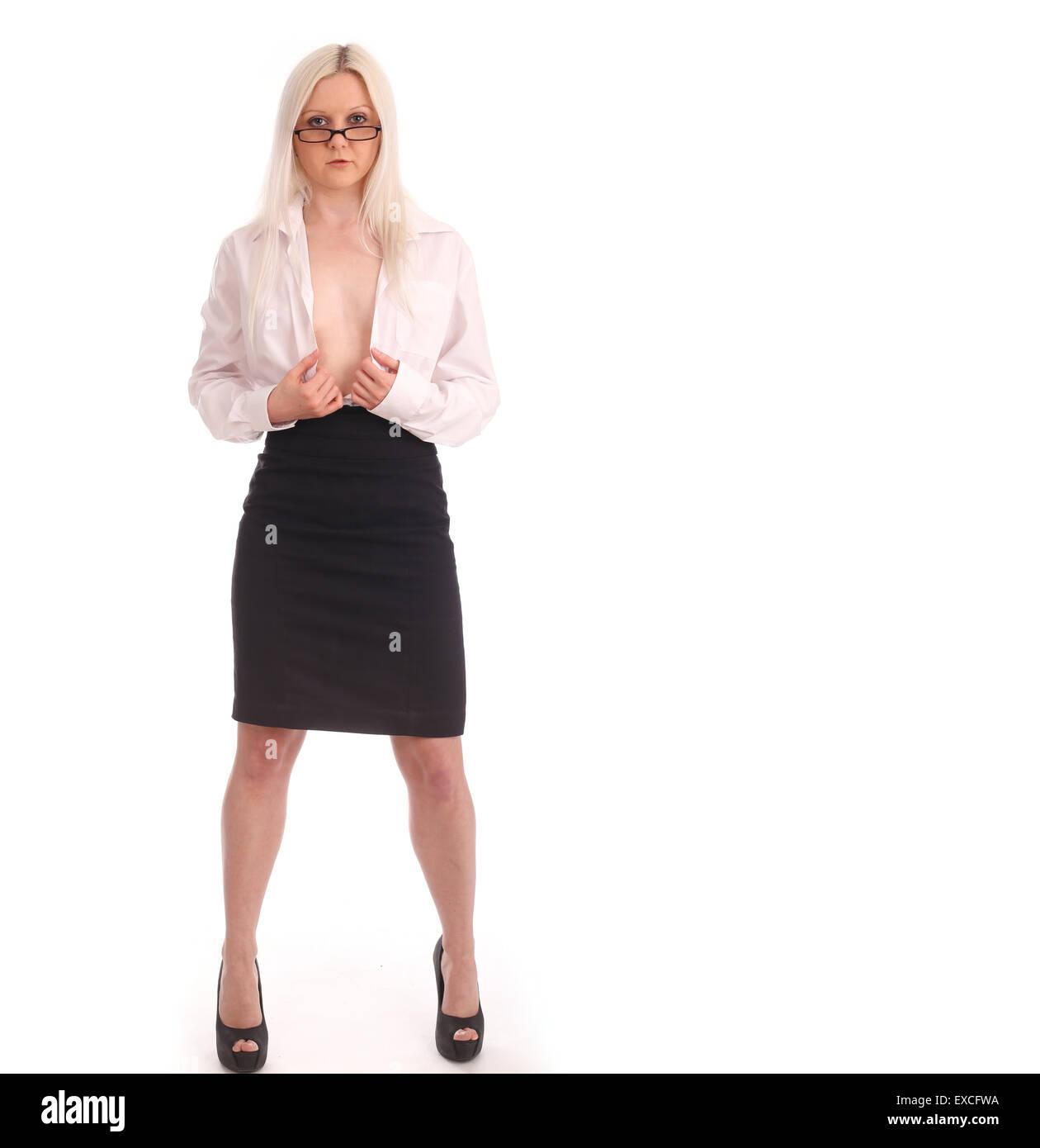 Blondes help undress each other