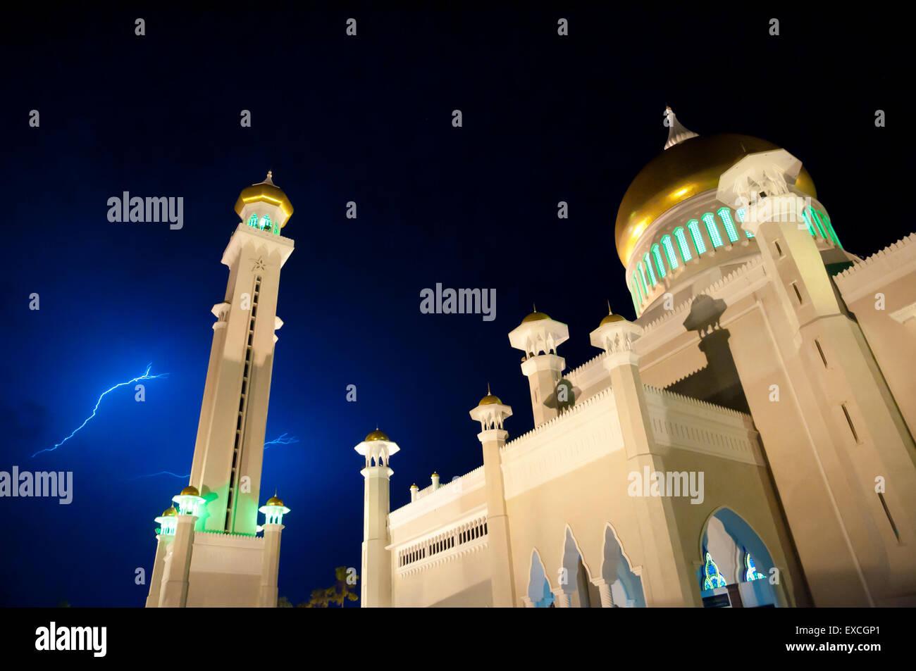 Sultan Omar Ali Saifuddin Mosque - Bandar Seri Begawan - Brunei - Stock Image