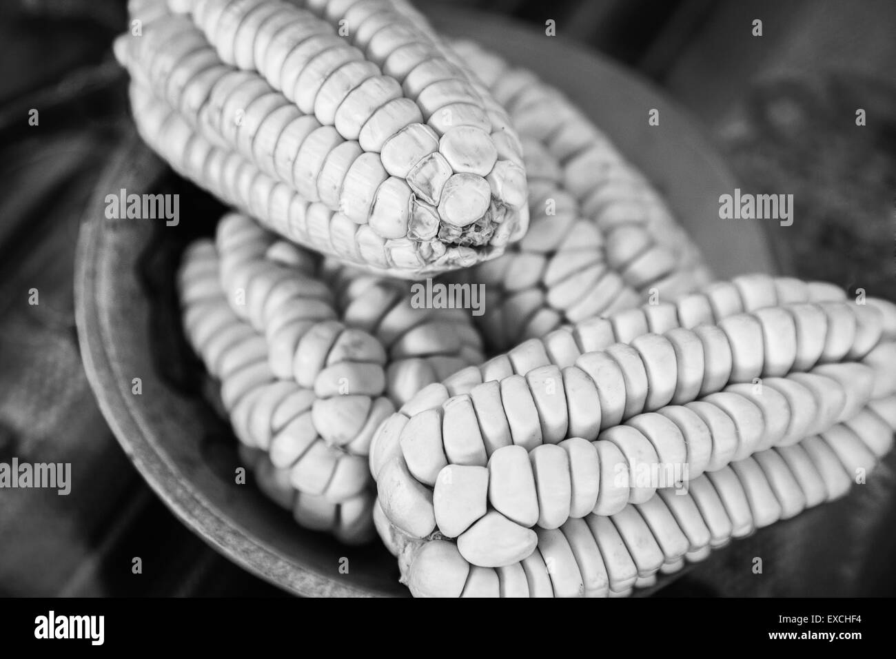 Four Corns in a Bowl, Peru, South America - Stock Image