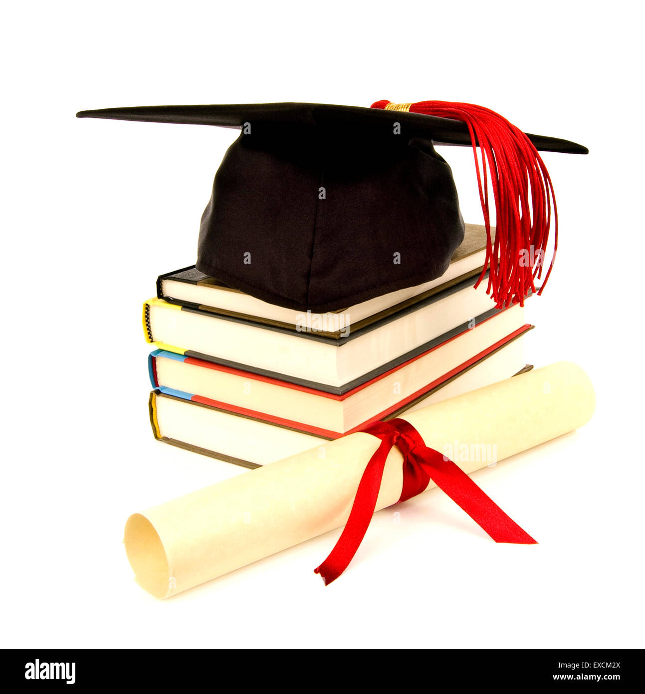 Graduation Cap With Red Tassel, Books and Diploma - Stock Image