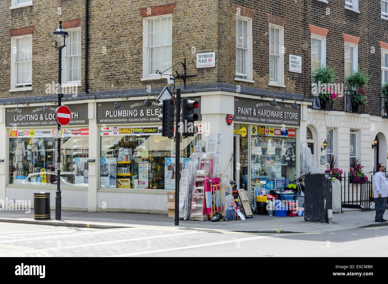 Hardware store on the corner of Seymour Place and Upper Berkeley Street, Westminster, London, UK - Stock Image