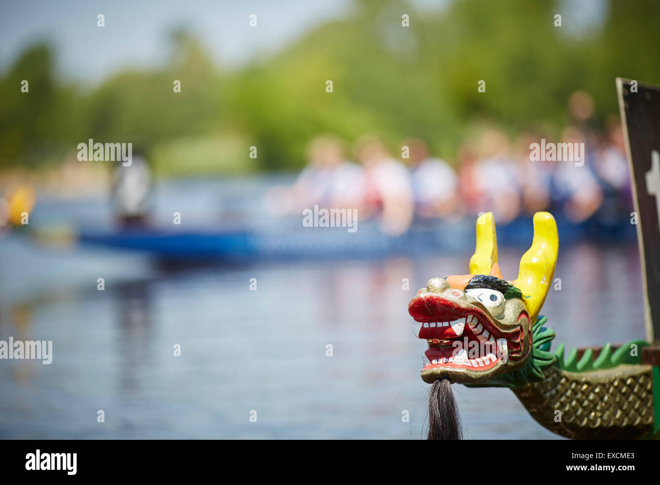 dragon boat on the river thames at Bisham in the English county of Berkshire  A dragon boat is a human-powered watercraft. - Stock Image