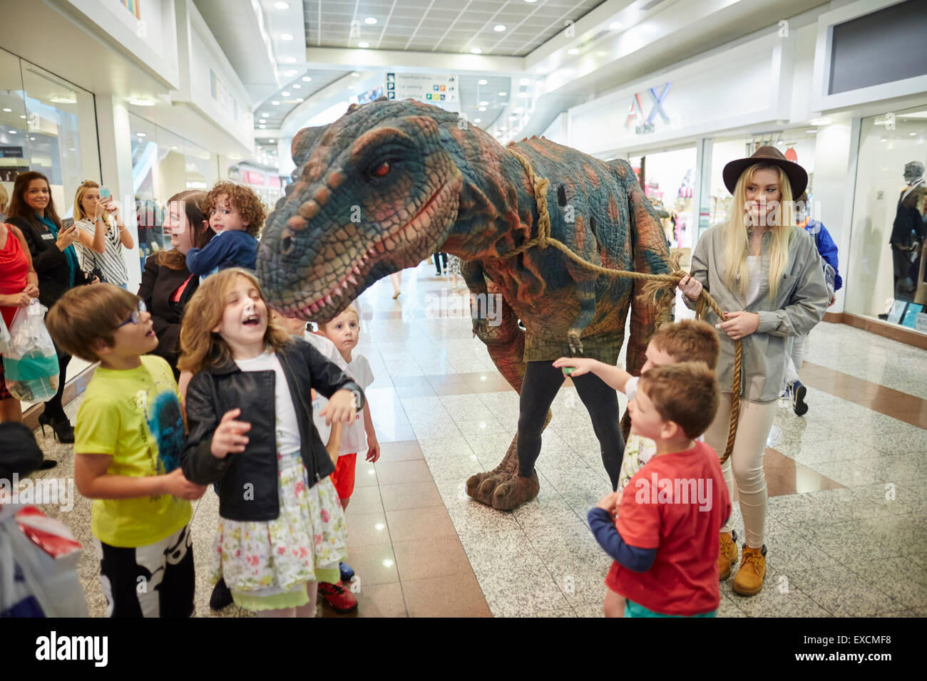 LOWRY OUTLAT MALL AT MEDIACITY Salford Quays  dinosaur visitor brings some Jurassic fun to the weekends markets - Stock Image