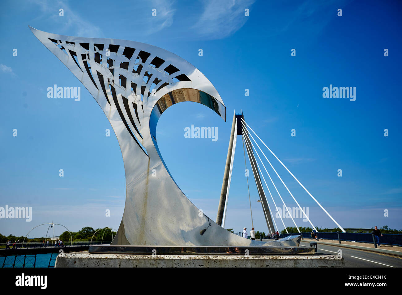 Marine Lake Bridge in the seaside town of Southport - Stock Image