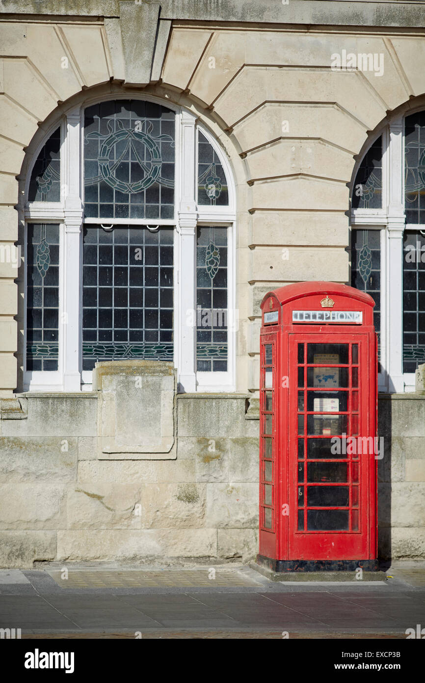 the old post office in Blackpool. Located in Blackpool, Lancashire, England, UK.  The red telephone box, a telephone - Stock Image
