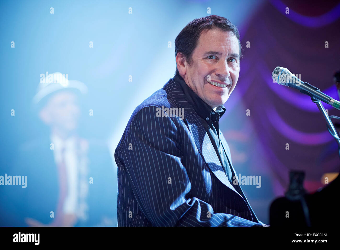 Jools Holland  Big band event at Blackpool's Winter Garden for  BBC television show   On stage at piano event - Stock Image