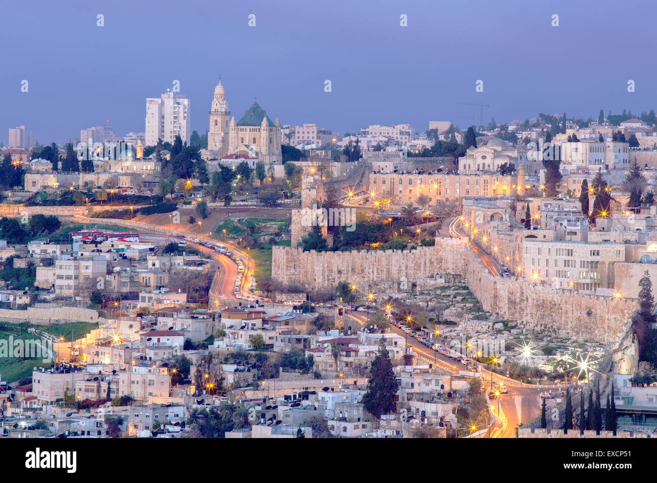Jerusalem - Outlook from Mount of Olives to Dormition abbey and south part of town walls in morning dusk. - Stock Image