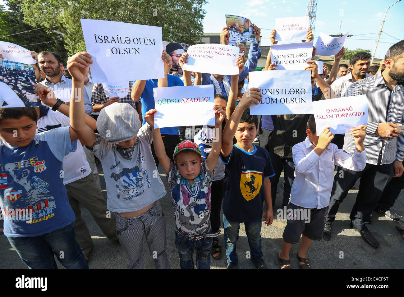 Baku Azerbaijan 10th July 2015 The Rally Participants Raised Stock Photo Alamy