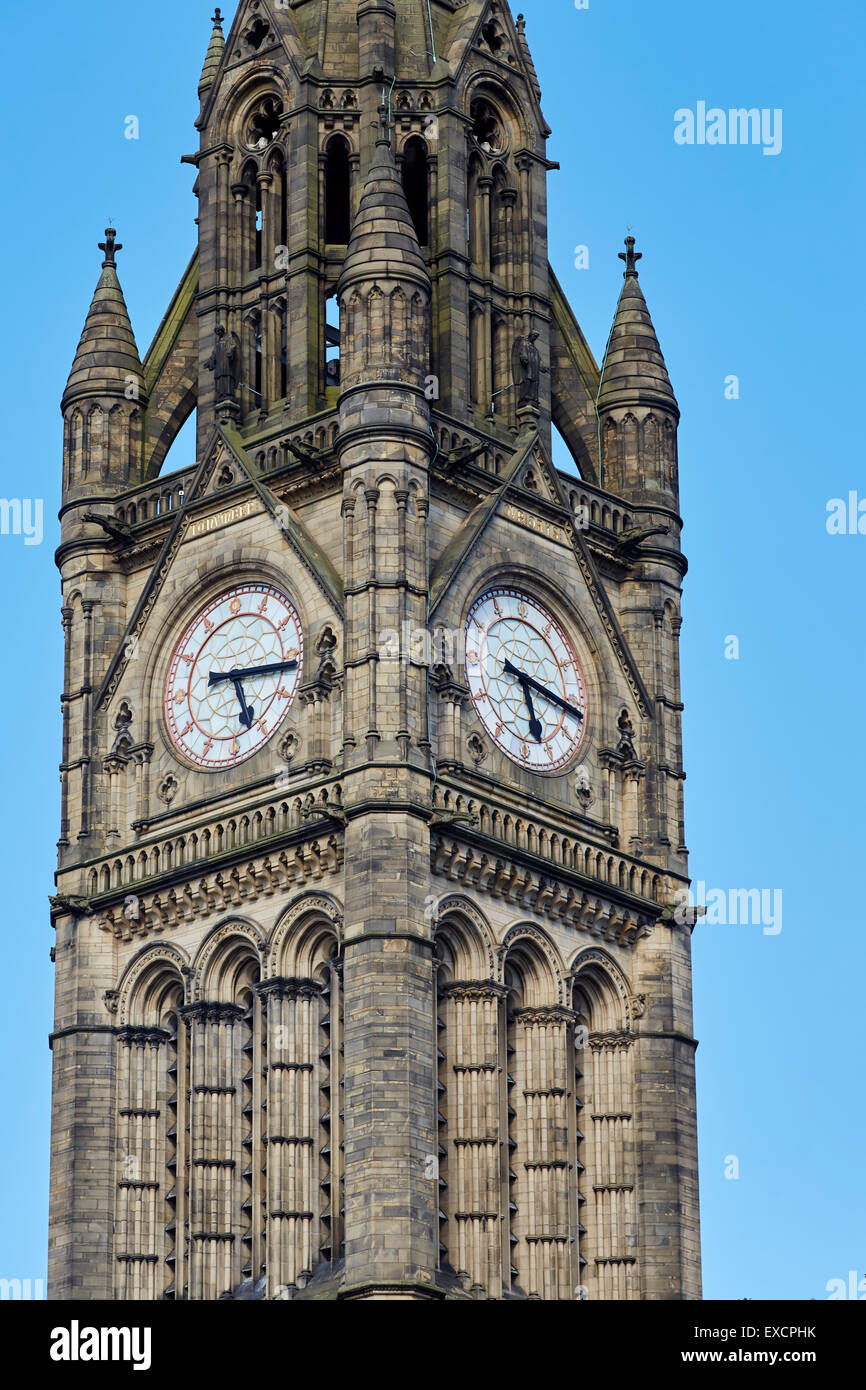 Close-up of manchester Town hall clock tower exterior   Clock face roman numerals numbers time gothic    UK Great - Stock Image