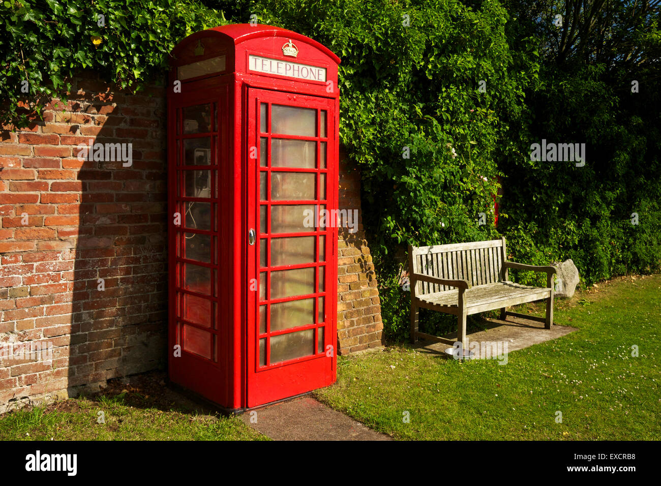 Red Telephone Kiosk in Chesterton Shropshire West Midlands England UK - Stock Image