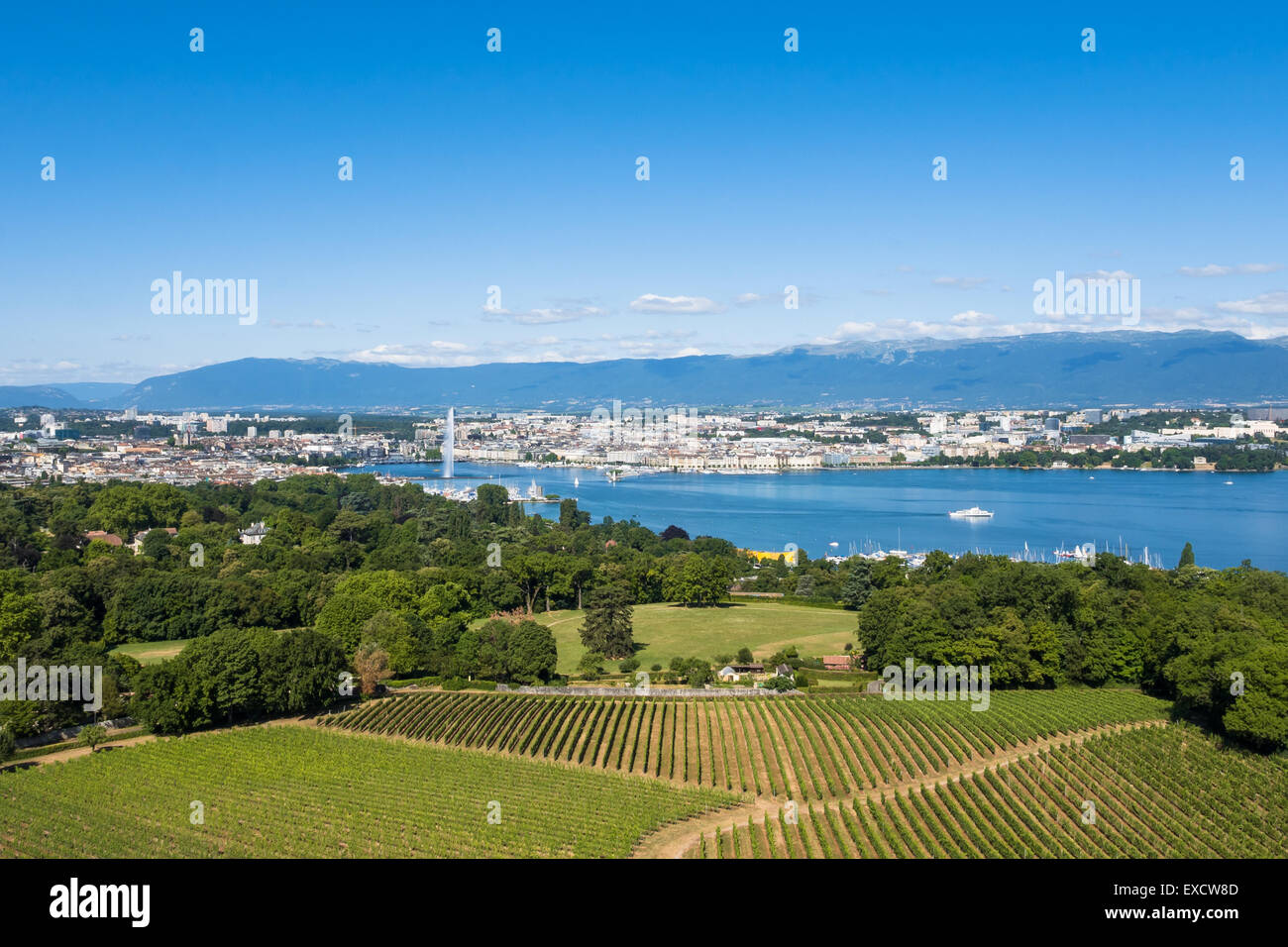 Aerial view of Leman lake -  Geneva city in Switzerland - Stock Image