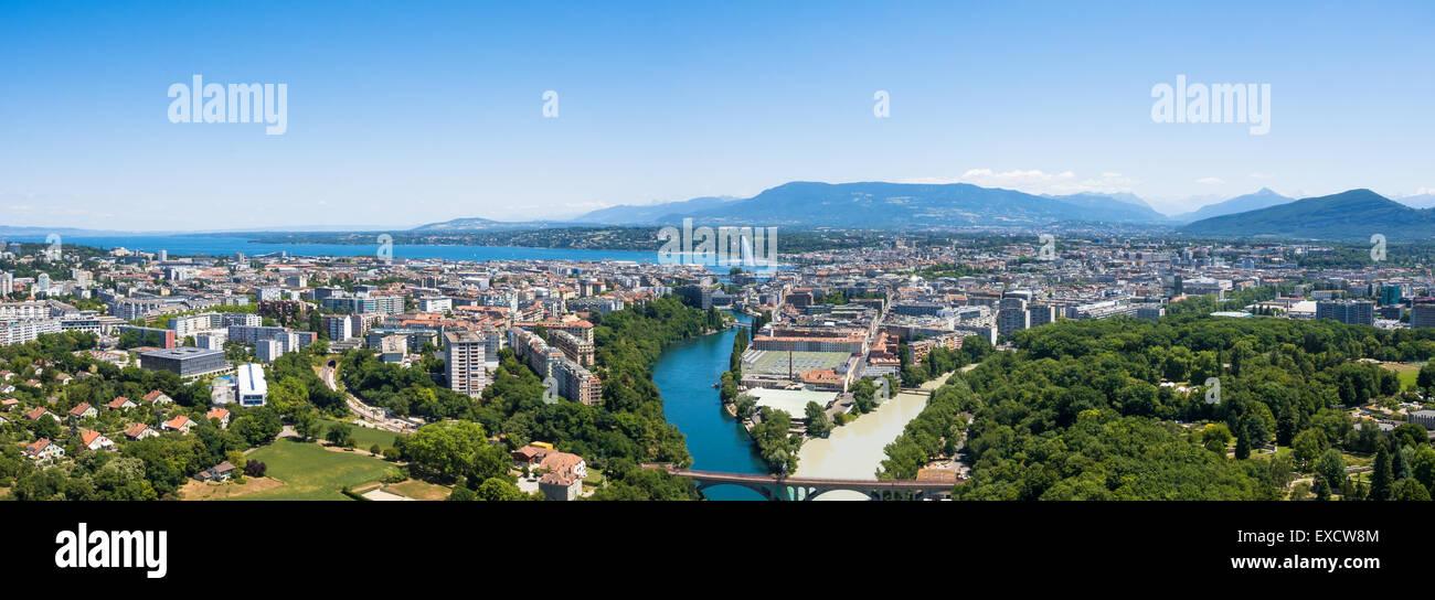 Aerial view of  Geneva city in Switzerland - Stock Image
