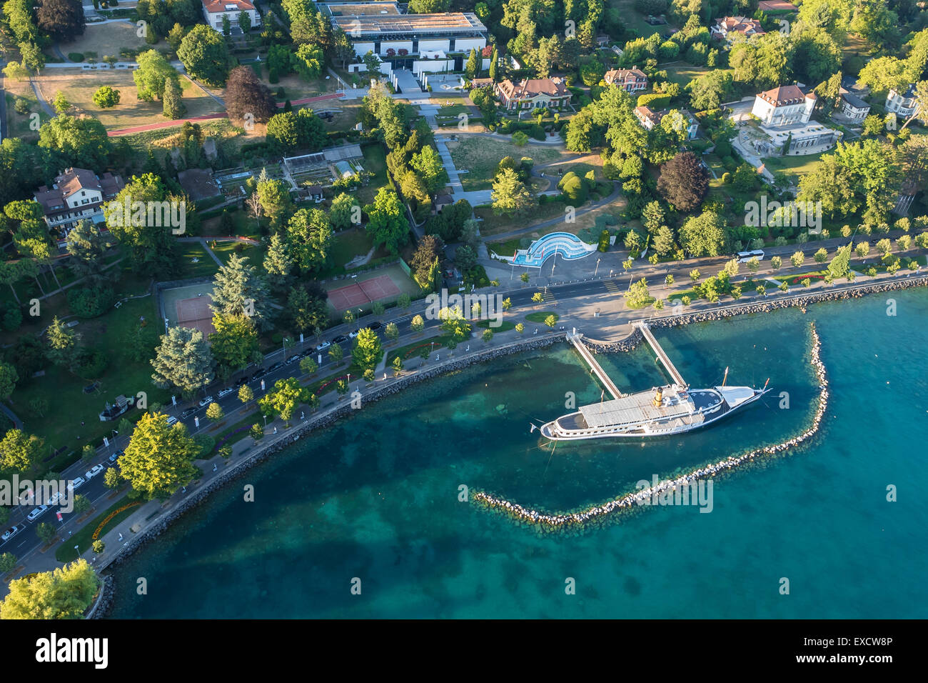 Aerial view of Leman lake -  Lausanne city in Switzerland - Stock Image