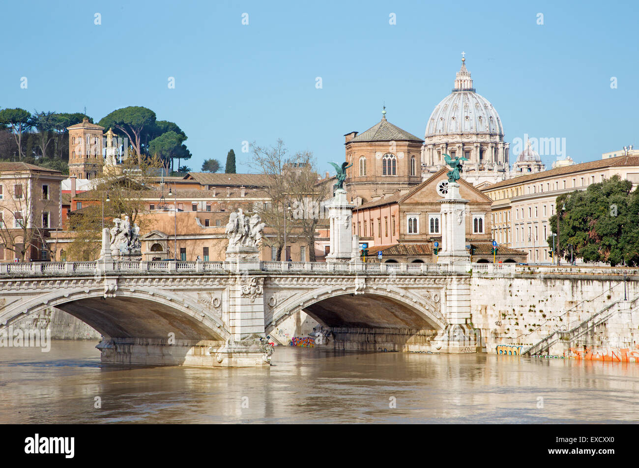 Rome - Vittorio Emanuele II and cupola of St. Peters basilica in the background. Stock Photo