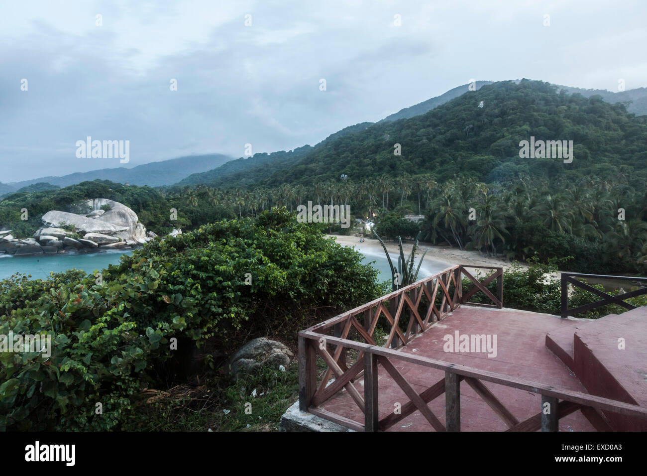 View of the beach and foothills of the Sierra Madre de Santa Marta in Tayrona National Park near Santa Marta, Colombia. - Stock Image