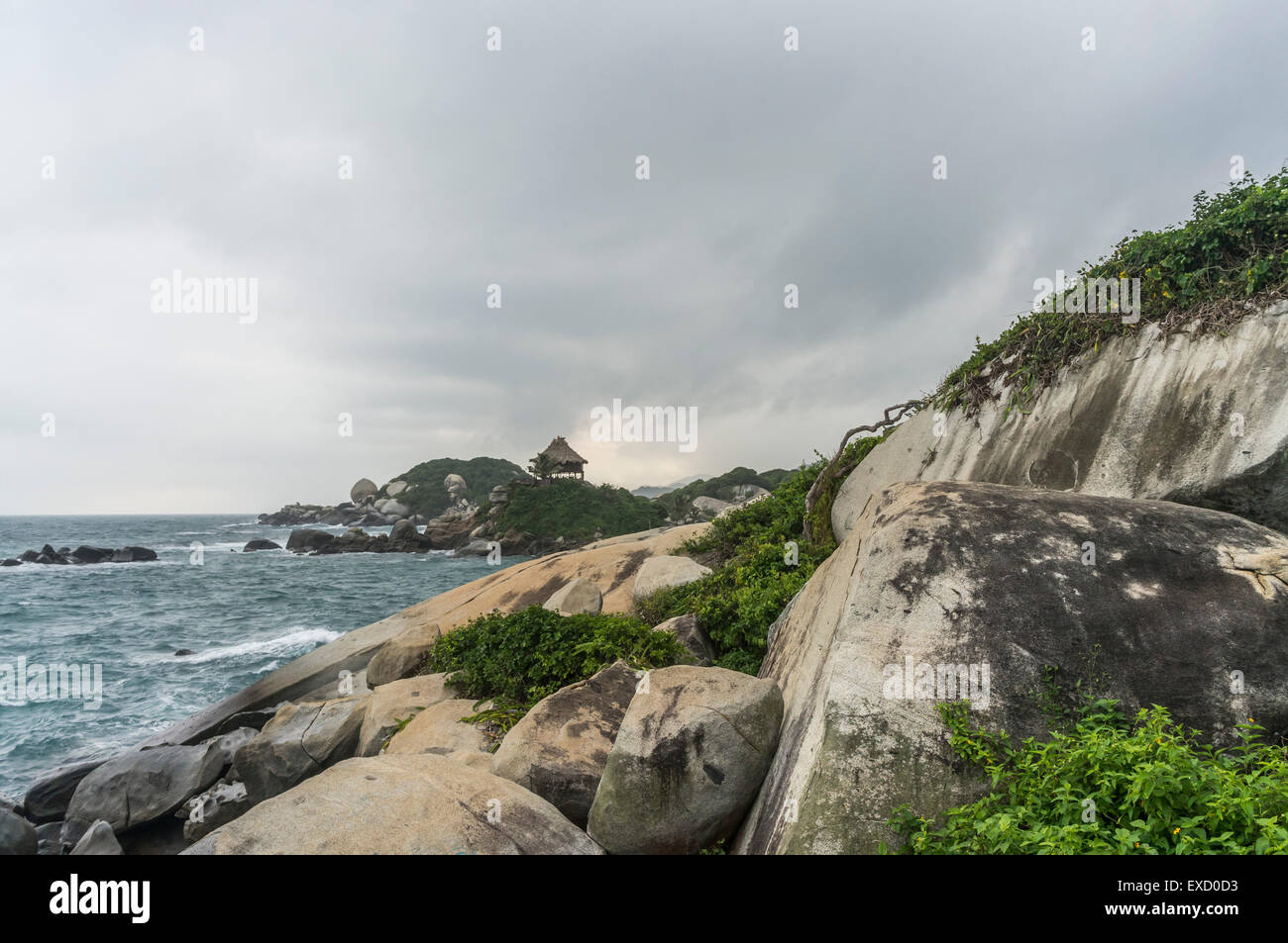 View of the rocky coast at Cabo San Juan in Tayrona National Park near Santa Marta, Colombia.  The park is one of - Stock Image