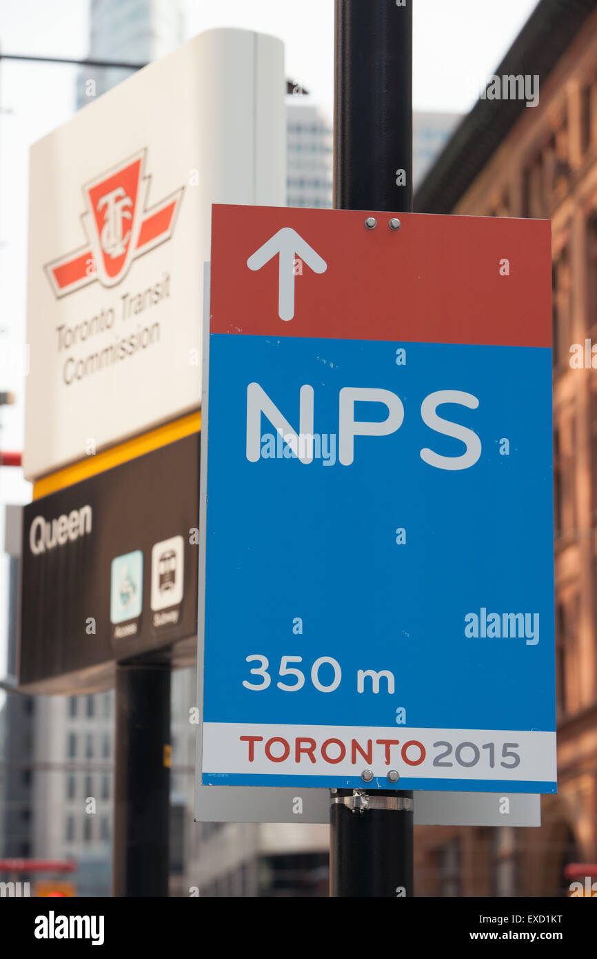 2015 PanAm games in Toronto,Canada: sign with direction to Nathan Phillips Square - Stock Image