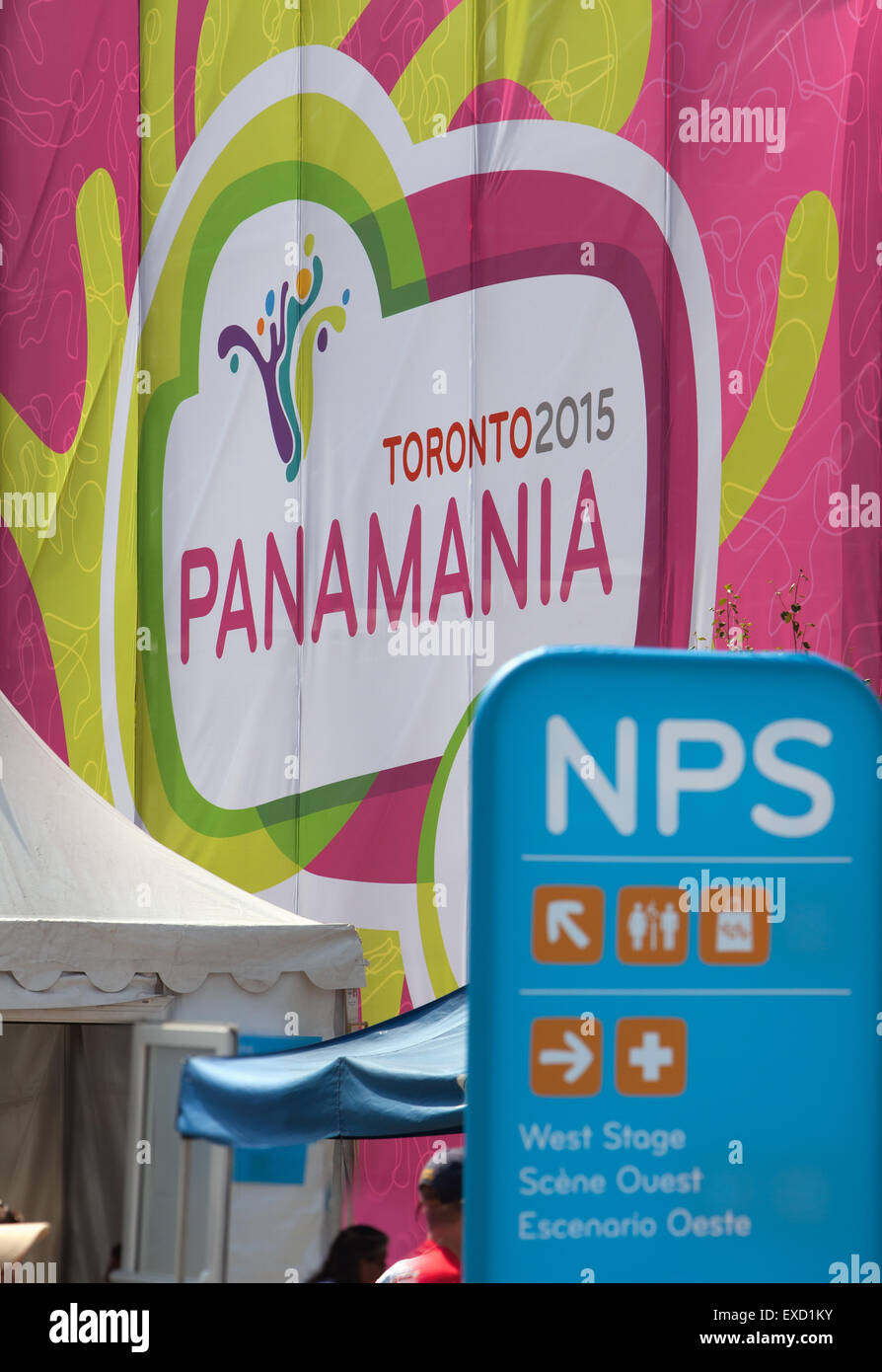 Toronto PanAm 2015 games signage at Nathan Phillips Square - Stock Image