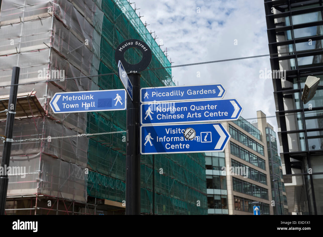 Pedestrians signs in Manchester City Centre ,UK. Stock Photo