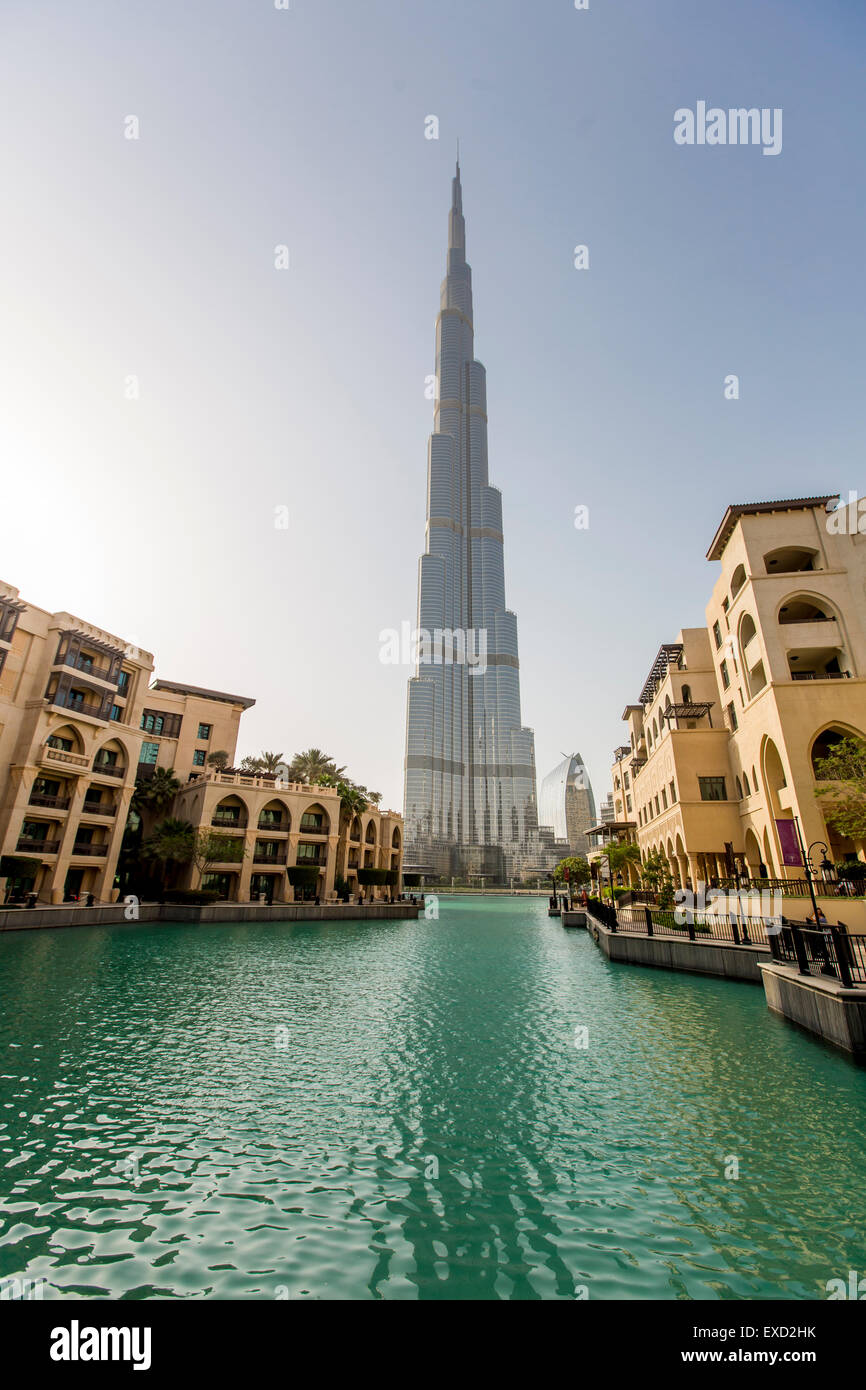 View at Burj Khalifa in Dubai. This skyscraper is the tallest man-made structure ever built, at 828 m. - Stock Image