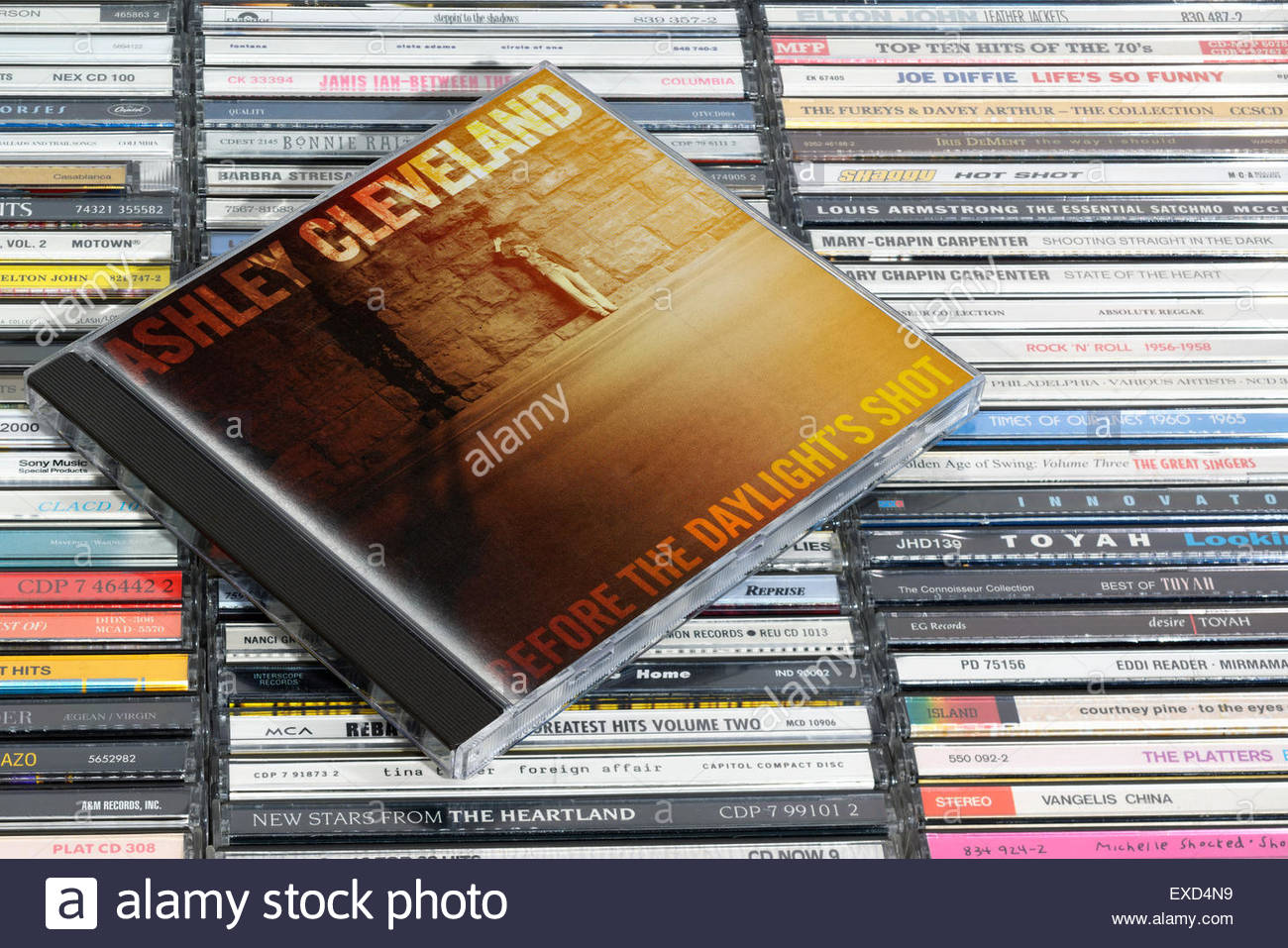 Ashley Cleveland 2006 Before the Daylight's Shot, album, piled music CD cases, England - Stock Image