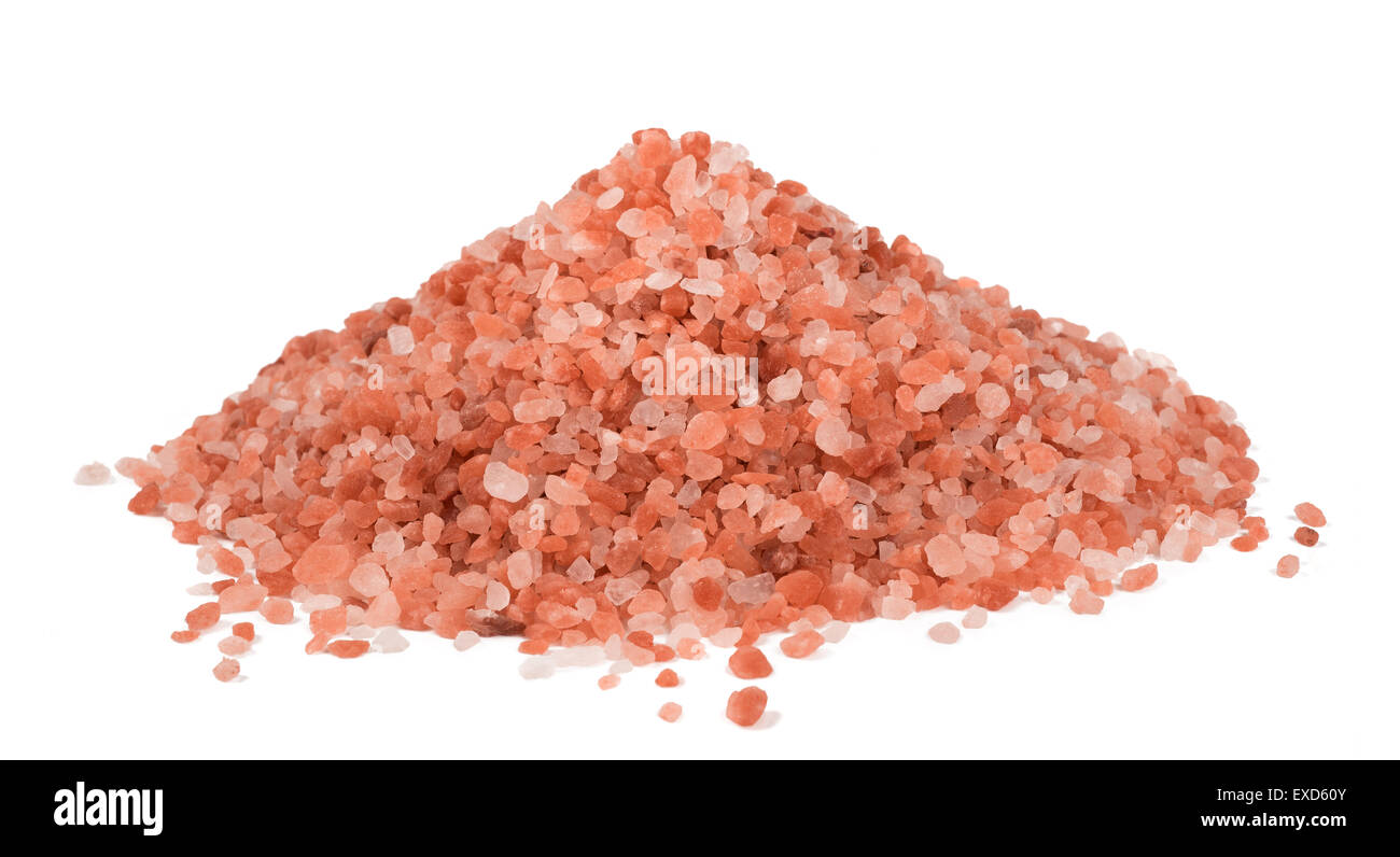 Himalaya Pink Salt isolated on white background - Stock Image