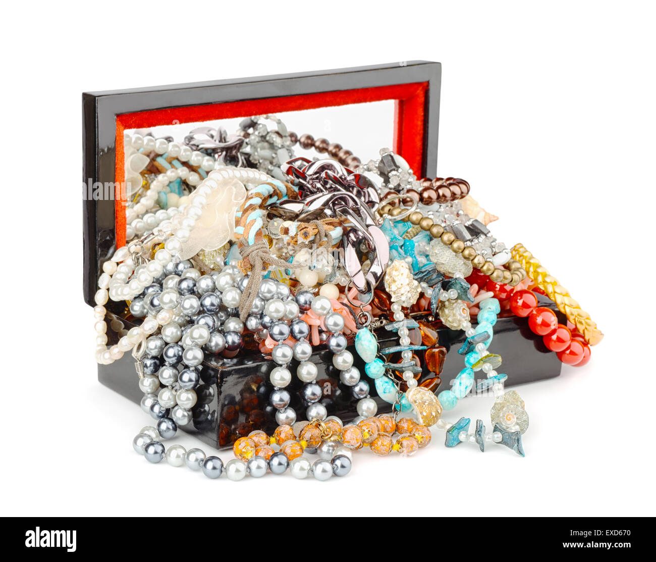 Open box full of jewelry isolated on white - Stock Image