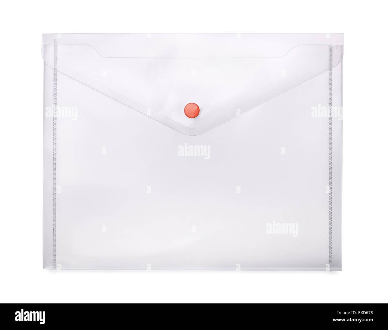 Transparent plastic envelope isolated on white - Stock Image