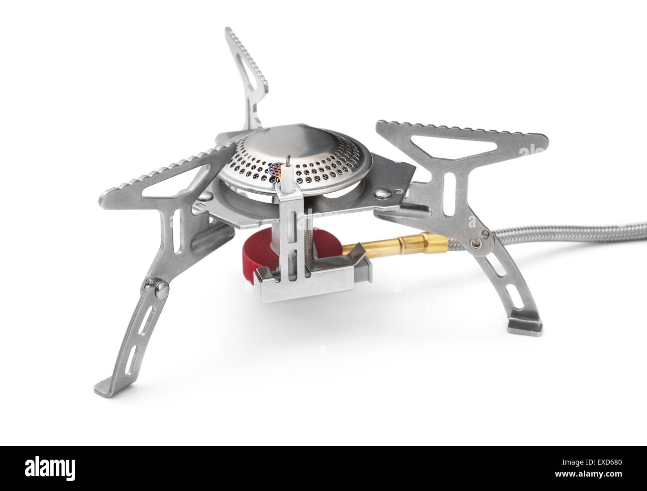Camping gas stove isolated on white - Stock Image