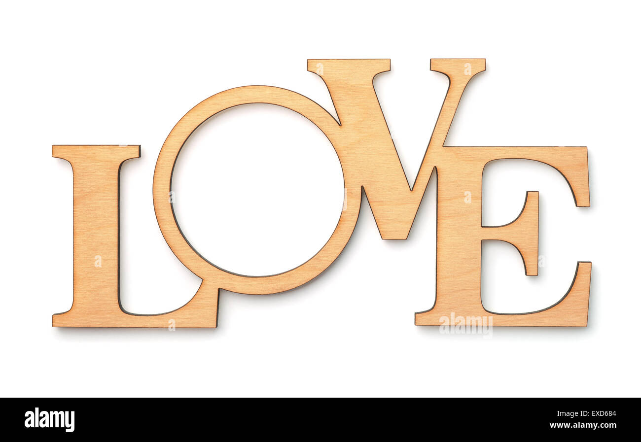 Decorative wooden word LOVE isolated on white - Stock Image