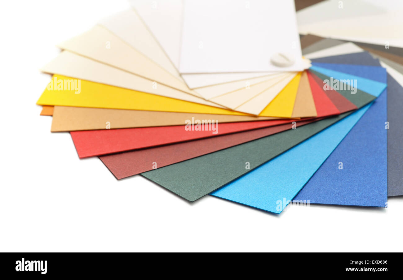 Samples of color cardstock paper - Stock Image