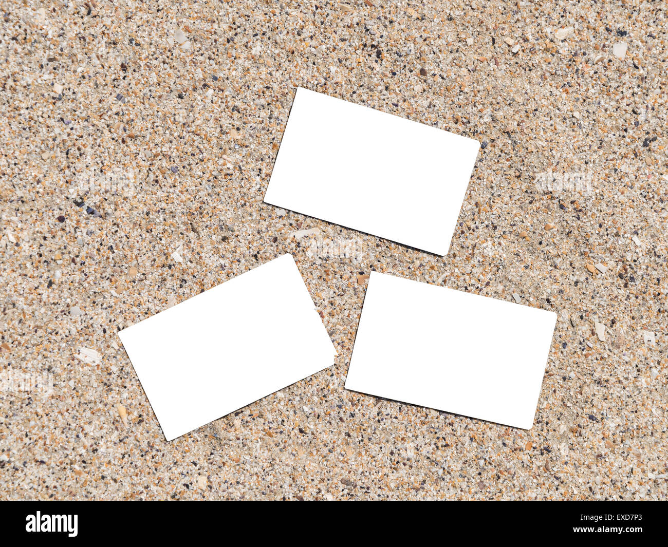 White Blank Business Cards On Beach Sand In Summer Stock Photo ...