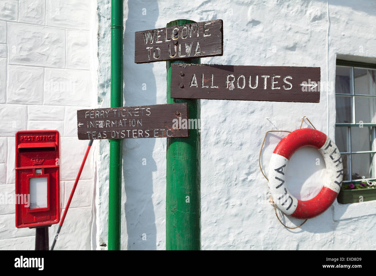 Direction signs on the Isle of Ulva, Inner Hebrides of Scotland - Stock Image