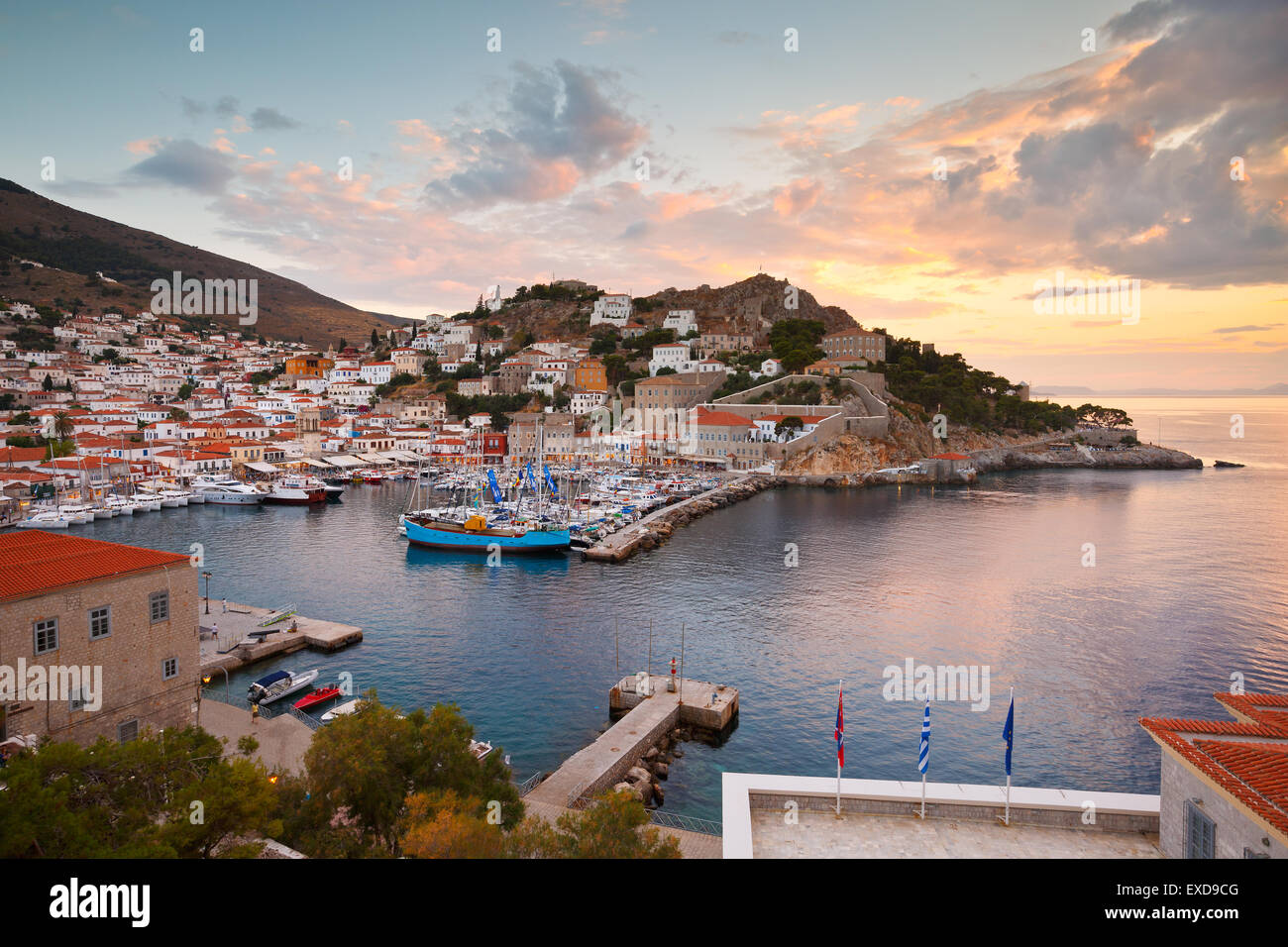 View of the port of Hydra - Stock Image