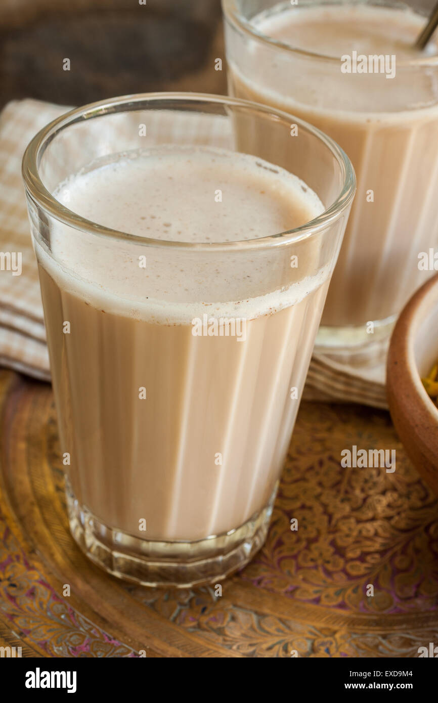 Masala Chai a refreshing blend of black tea with milk and spices Stock Photo