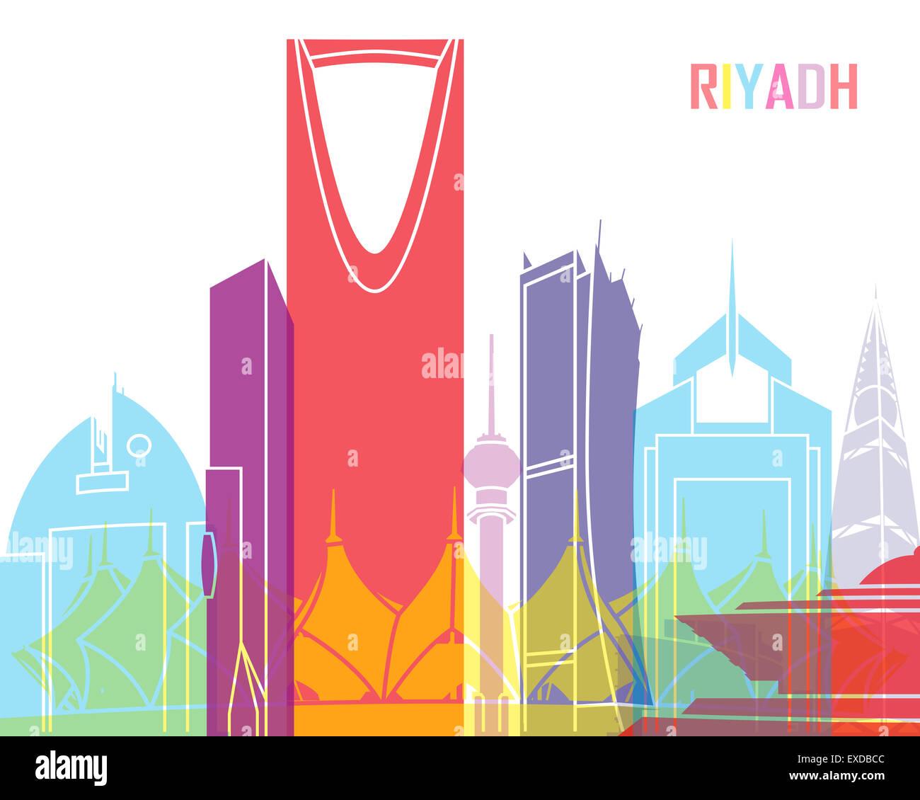 Riyadh skyline pop in editable vector file - Stock Image