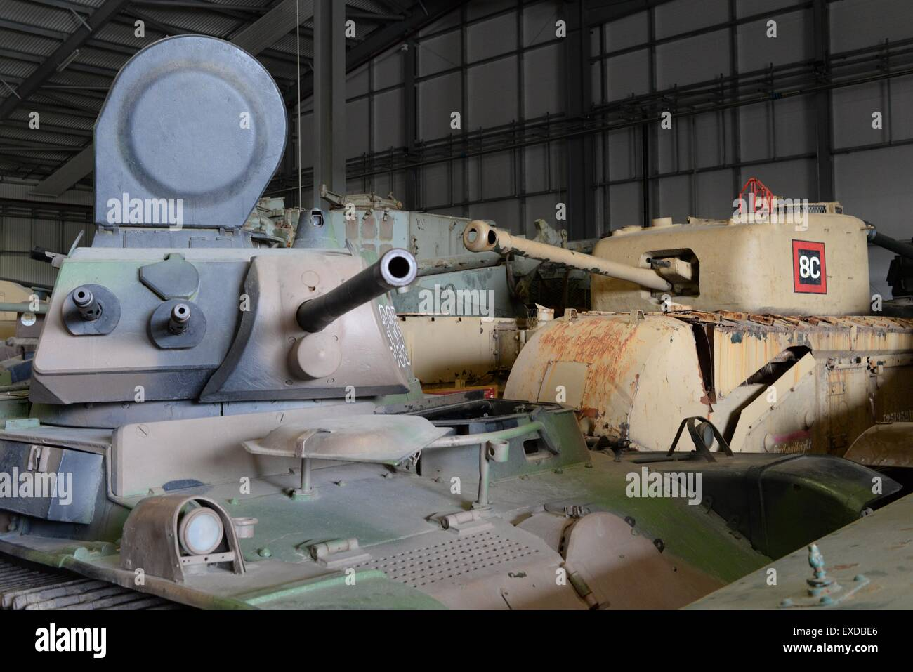 Vintage tanks on display at the Tank Museum, Bovington, Dorset. - Stock Image
