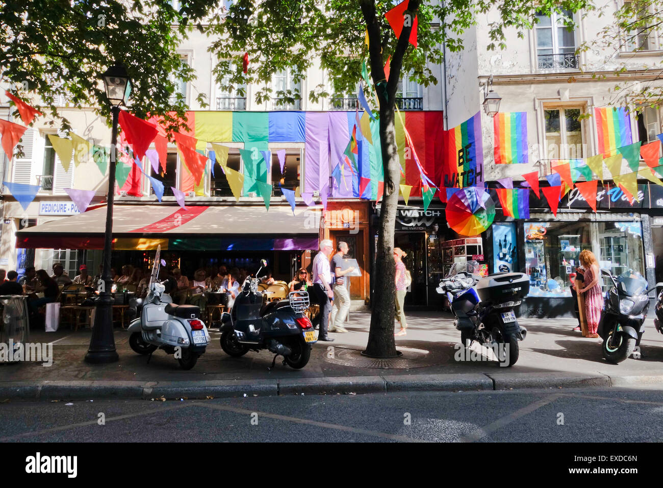 Rainbow Flag Decorations In The Marais Before Gay Pride Parade