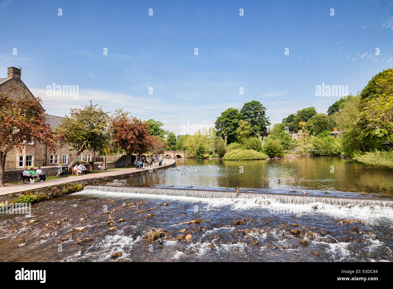The weir and the River Wye at Bakewell, Derbyshire, England. - Stock Image