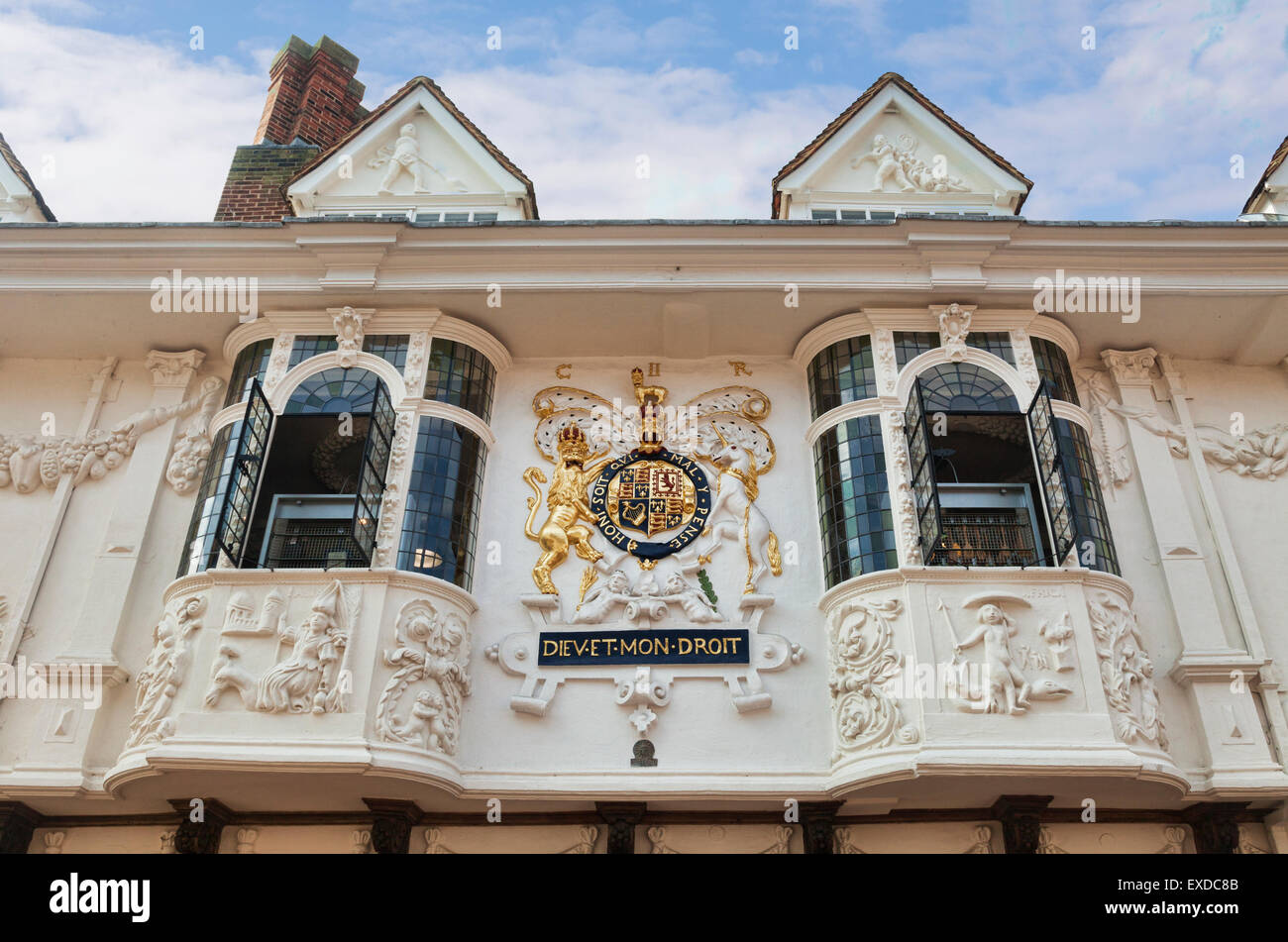 Ancient House decorated with pargeting, and with coat of arms, Ipswich, Suffolk, England Stock Photo