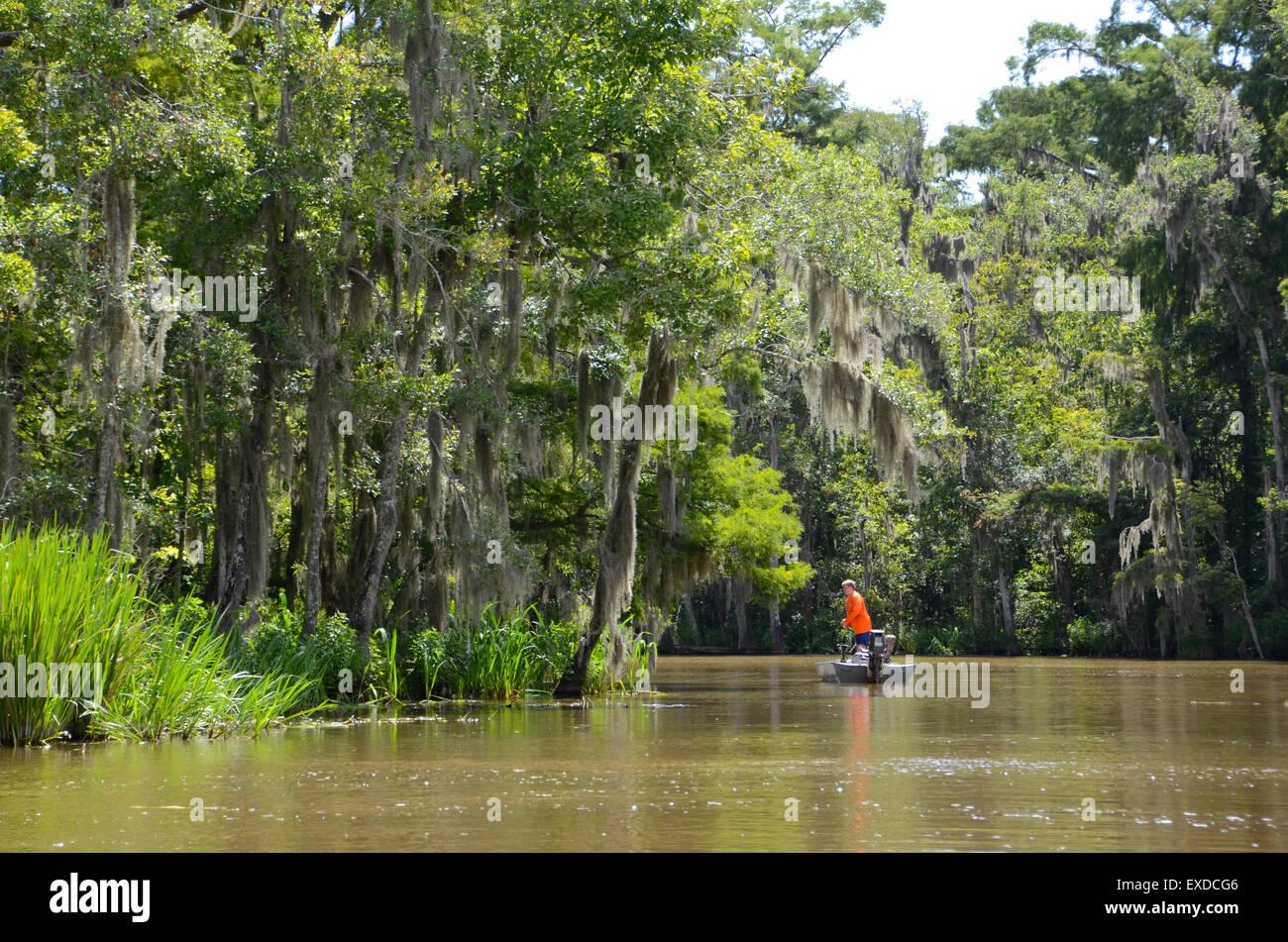 fisherman pearl river swamp new orleans - Stock Image