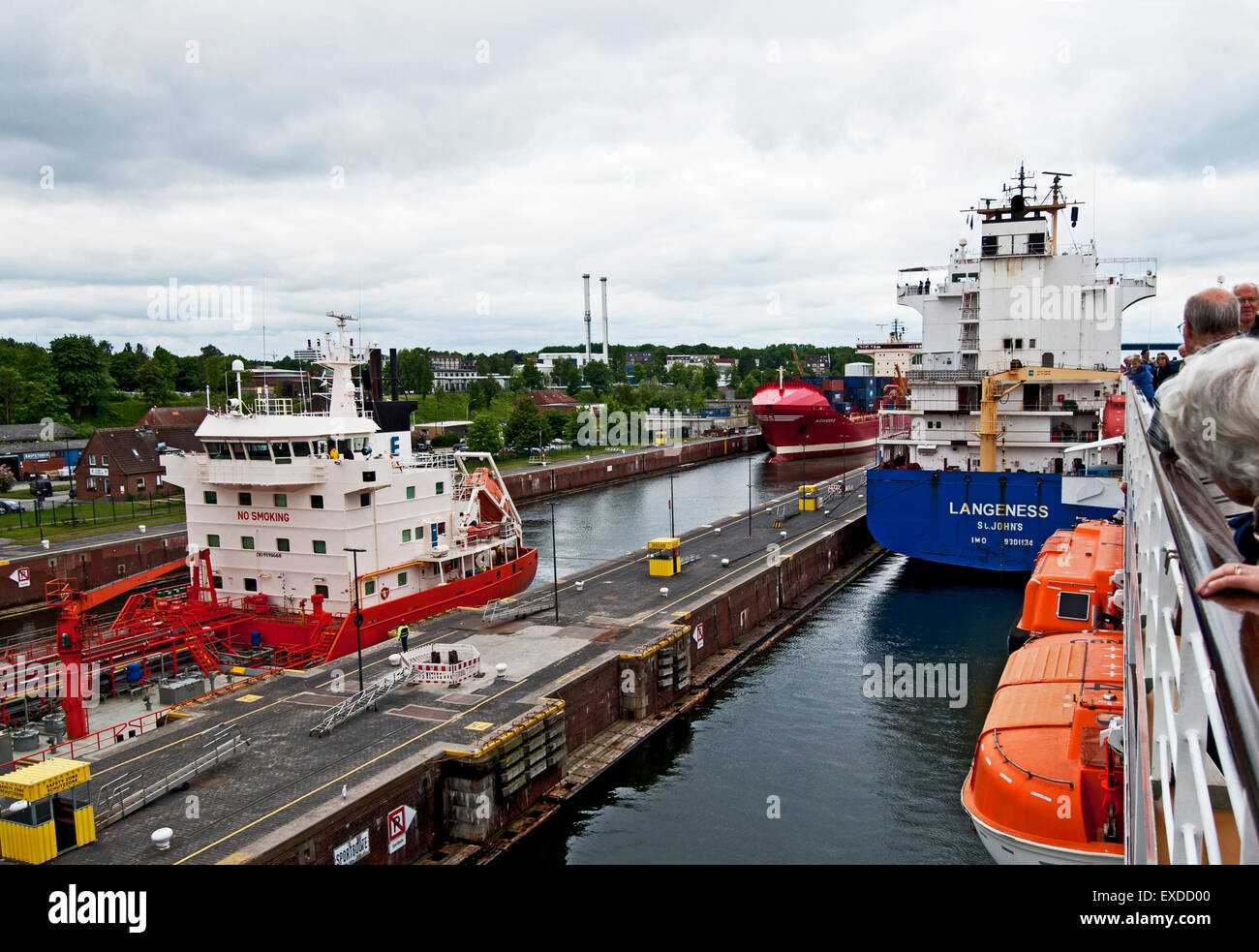 Ships in the Kiel-Holtenau Lock of the Kiel Canal - Stock Image