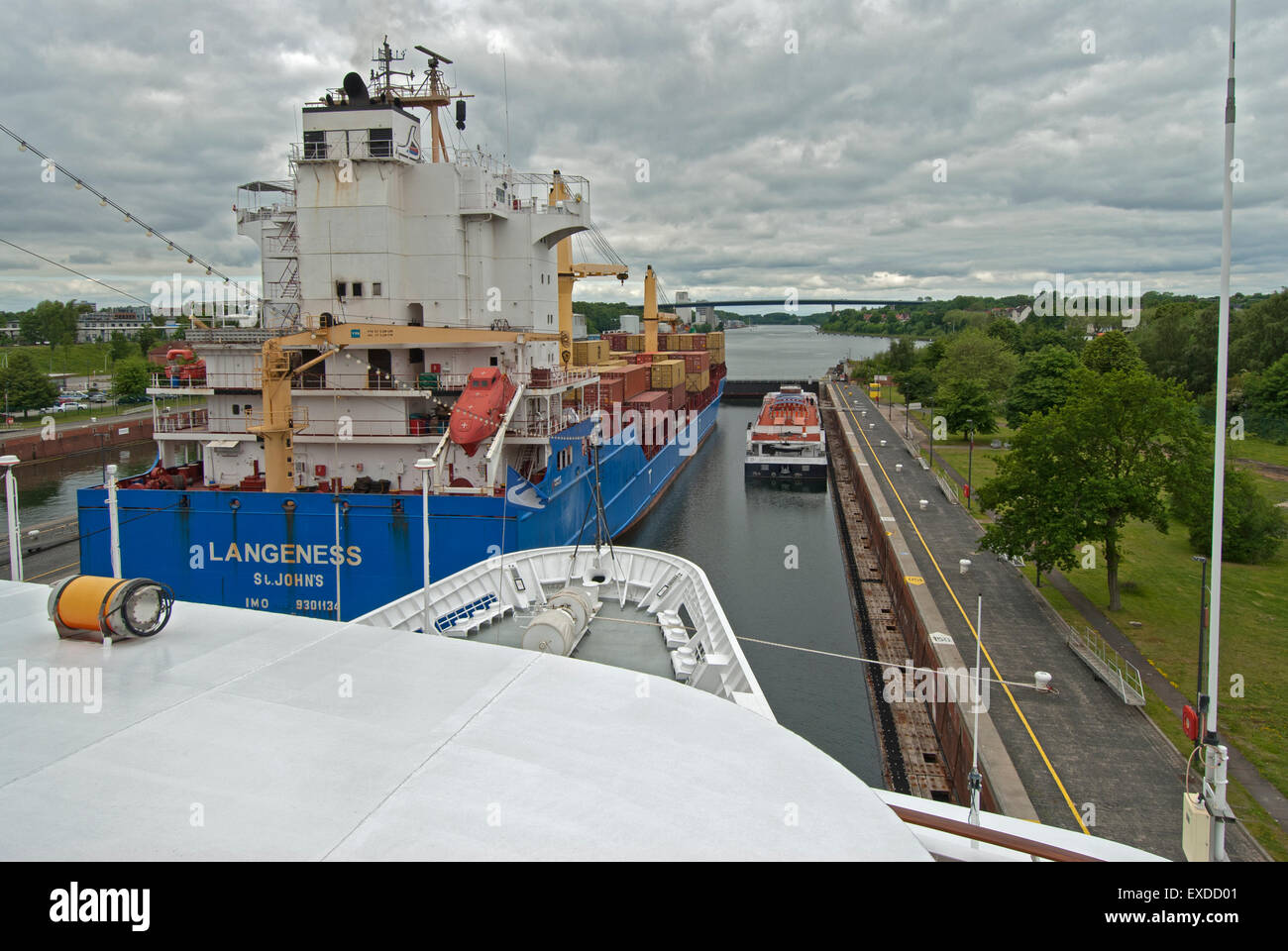 Ships in the Kiel-Holtenau Lock for the Kiel Canal - Stock Image