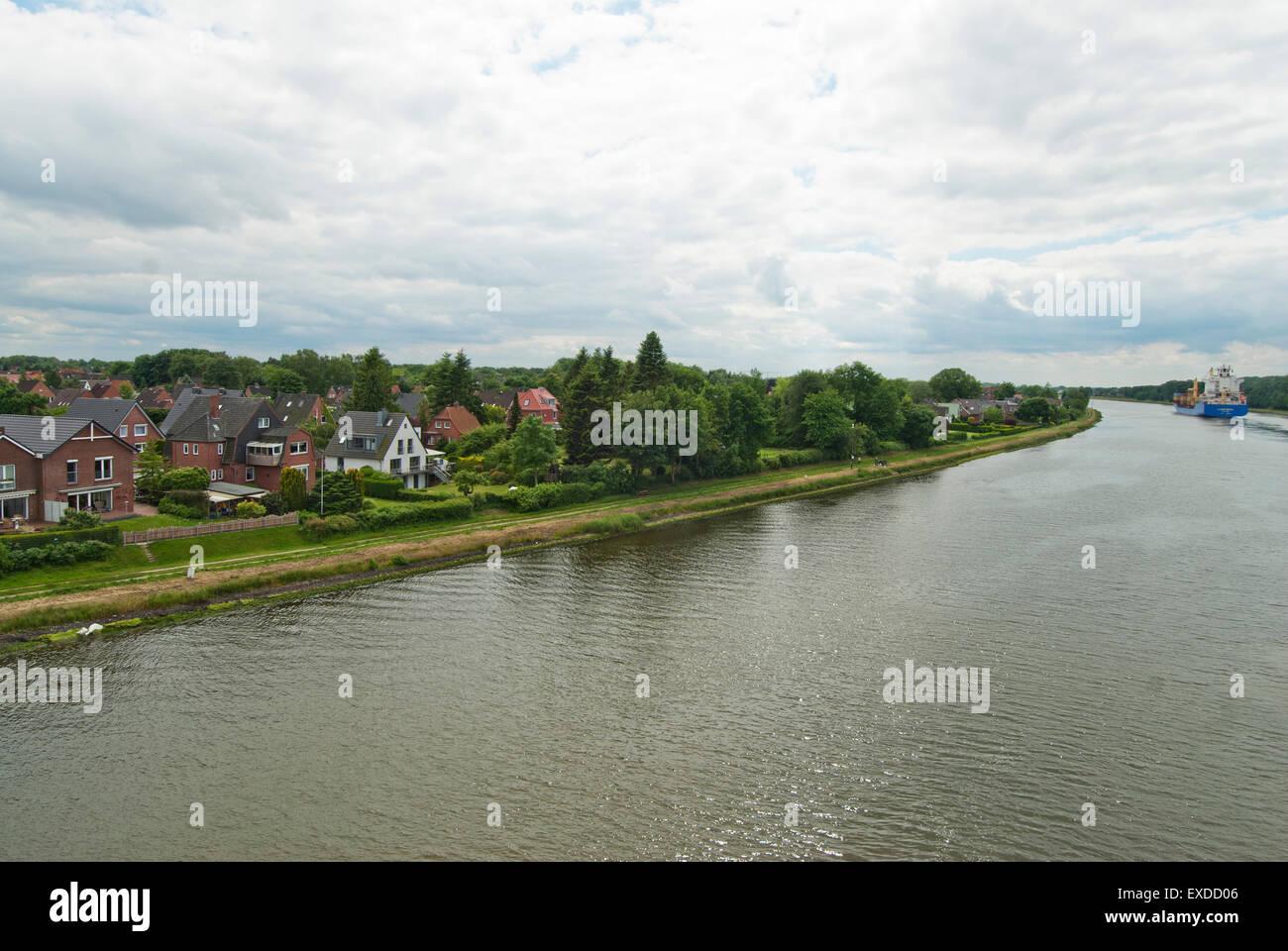 Kiel Canal side Houses - Stock Image